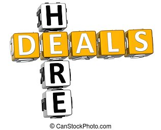 3D Here Deals Crossword on white background