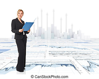 business woman - standing smiling business woman on 3d chart