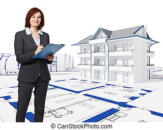 architect at work - architect with blue print and 3d house...