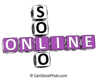 3D Solo Online Crossword on white background