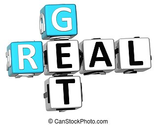 3D Get Real Crossword on white background