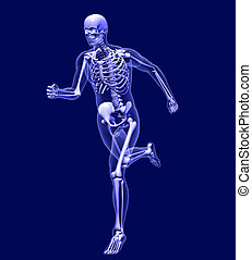 X-Ray Man Running - 3D render simulating an Xray image of a...