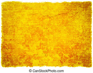 Grunge Yellow Floral Textured Background