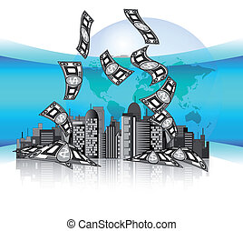 City skyline with money and earth g