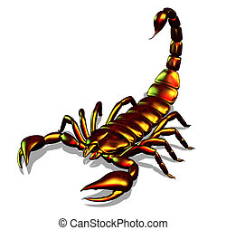 metálico, escorpião