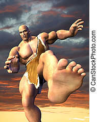 Giant with Background - 3D render of a giant about to crush...