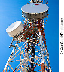 Antenna - Modern cell and antenna with flat parabola on blue...