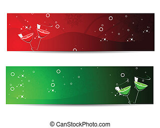 set of header for new year - set of two banners with...