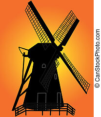 black silhouette of a windmill on an orange background