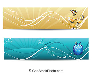 set of new year concept illustration - Background with set...