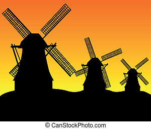 three wind turbines - black silhouettes of three wind...