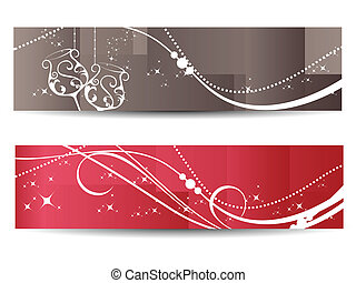 vector set of two banner - stylish pattern new year banner,