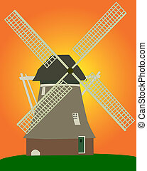 windmill - an old Dutch windmill on an orange background on...
