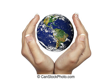 Hands holding planet Earth isolated on white