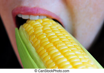 Corn Cob - A young woman eats a cob of corn
