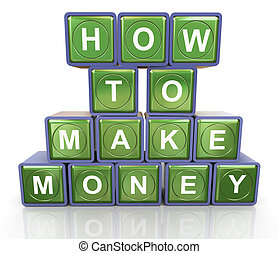 How to make money - 3d render of reflective textbox of 'how...