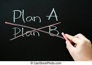 Crossing out Plan B and choosing Plan A on a blackboard