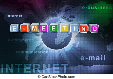 3d buzzword text e-meeting