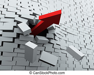 3d arrow breaking wall - 3d render of red arrow breaking...