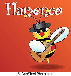 Spanish bee - Kid Illustration - Flamenco Spanish bee with...