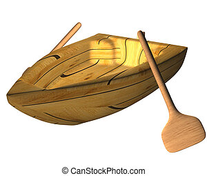 Boat 03 - One boat made on wood and with rowing
