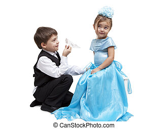 Crystal slipper - Little boy give a glass slipper to little...