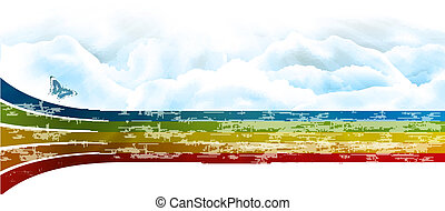 rainbow sky with clouds vector banner background