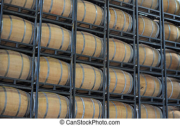 Barrels of Wine in a Vineyard