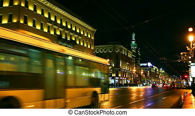 Nevsky Prospect in St Petersburg at night - timelapse