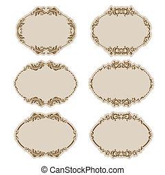 Set of ornate vector frames . In vintage style. Basic...