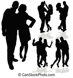 couple man and woman in love black silhouette