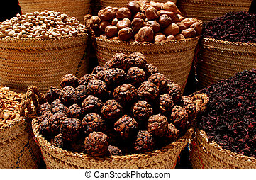 Spices in Aswan Market, Egypt - Close up of baskets of...
