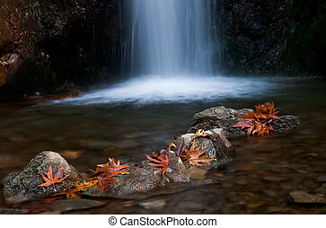 Waterfall, Troodos Cyprus - Waterfall with rocks and leaves....