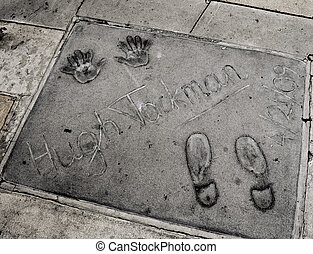 Hugh Jackman handprints in Hollywood, United States
