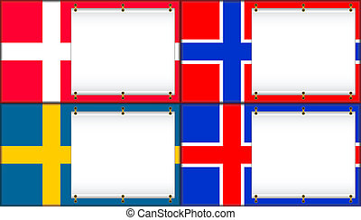 Denmark, Norway, Sweden, Iceland - Flags of Denmark, Norway,...