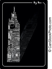 abstract big ben with words London