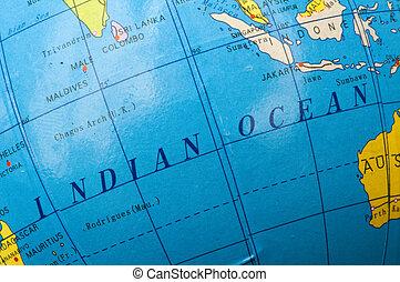 Indian ocean of the globe