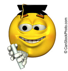 Graduate Emoticon - 3D render of a graduate emoticon