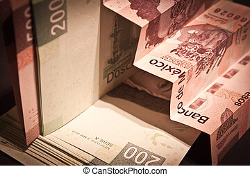 stairs of mexican pesos bills - stair of mexican pesos bills...