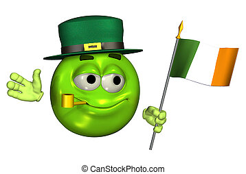 Leprechaun, Emoticon, irlandés, bandera