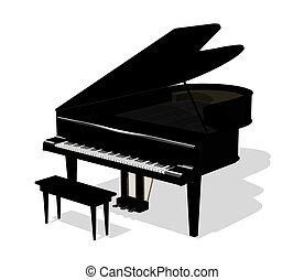 Piano - 3D render.