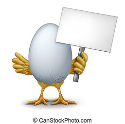 Funny Egg With A Blank Sign - Funny egg holding a blank sign...