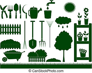 green garden tools isolated - green garden tools for...