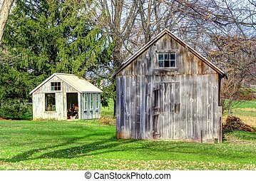 Wooden Shed in Fall