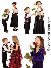 Little girl with boy and rose - Set of little boys and girls...