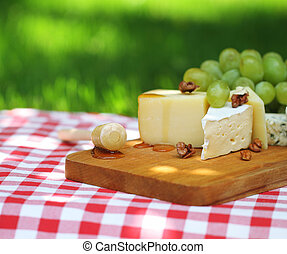 Various sorts of cheese with grapes outdoor
