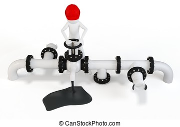 3d man operating an oil valve