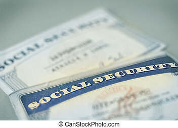 closeup of US Social Security cards