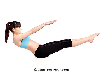 woman doing fitness exercises - Young woman doing fitness...