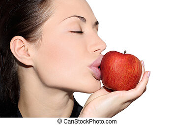 Beautiful woman with an apple - Happy woman dieting, pretty...